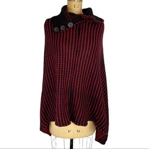 3/$25 Red and Black Acrylic Knit Poncho